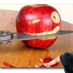 Funny Apple With Knife Masterpiece Limited Design Oblong Mouse Pad By Cases & Mousepads