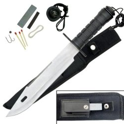 """Hk-2236S Survival Knife With 5U3D9Duz Satin Finish Nsl7Be2R Blade 15"""" Overall Ayeuiu56 Hlbv23Rt Stainless Steel Blade With Serrated Spine.Soild Metal Handle With Cv4Bxq Rubber Overmold.Black Coated Metal Guard.10"""" Wjfgqclw1 Blade15"""" Overall.Nylon Belt She"""