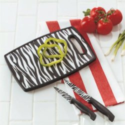 Zebra Trendy Cutting Board And Knife 3 Pc Set