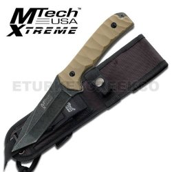 "Mx-8065. M-Tech Xtreme Tactical Fighting Knife 10"" Overall With Case Fixed Blade Knife 10"" Overall 5Mm Thickness Black Stonewash Finished Blade 4.5"" Tanto Blade Tan Color G10 Handle Includes Black Molle Sheath Knife Fixed Blade Knife Hunting Sharp Edge St"