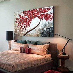 Thick Painted Knife Painting Red Tree On Canvas Beautiful Pictures For Wall