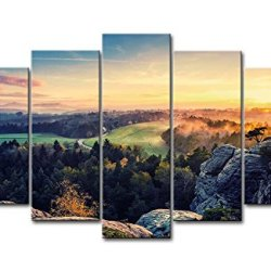 5 Panel Wall Art Painting Valley Sunset View Rock Forest From Mountain Peak Prints On Canvas The Picture Landscape Pictures Oil For Home Modern Decoration Print Decor