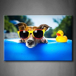 Blue Beach Dog With Sunglasses Side Duck Toy Wall Art Painting Pictures Print On Canvas Animal The Picture For Home Modern Decoration (Stretched By Wooden Frame,Ready To Hang)