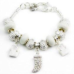 "Mianmian European Style White Diamond Bag Knives Tibetan Silver Diy Macroporous Glass Charms Silver-Plated Snake Chain Bracelet With Clasp 20Cm(7.87"")"