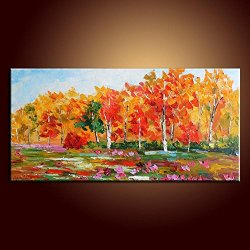 Palette Knife Spring Tree 10X20 In/25X50Cm Art Living Room Wall Decor Oil Painting On Canvas Modern Art Unframed