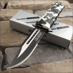 Tac Force Sawback Bowie Rescue Snow Camo Pocket Knife
