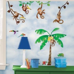 Wall In A Box Wib1024 Monkey Business Wallpaper, Brown, Green, Yellow, Red, Orange, Blue, White