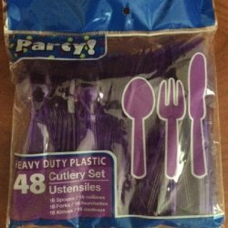 Plastic Utensils, 48-Ct. Packs (16 Forks, 16 Spoons & 16 Knives) (Neon Purple)