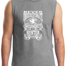 Never Underestimate Awesome Hunter, Hunting Sleeveless T-Shirt Large Sport Grey