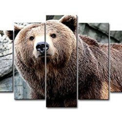 5 Piece Wall Art Painting Brown Bear Pictures Prints On Canvas Animal The Picture Decor Oil For Home Modern Decoration Print For Kids Room