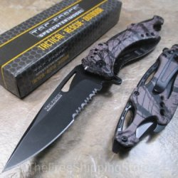 Tac Force Brown With Unique Design Assisted Opening Folding Knife 4.5-Inch Closed