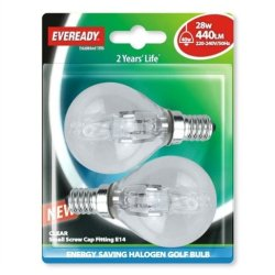 G45 Golf Eco Halogen Bulb 28 Watt (40 Watt) Ses Small Edison Screw Card Of 2