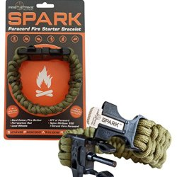 Spark (Tm) Fire Starter Paracord Bracelet In Olive Drab Green Paracord With Emergency Whistle Side Release Buckle - Magnesium Fire Steel - Clasp With Knife Cutter & Striker Accessories - Survival Gear Kit On Your Wrist - Black 550 Mil-Spec 7-Strand Parach