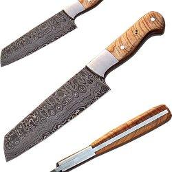Handmade Damascus Tanto Blade Olive Wood Handle Chef Knife