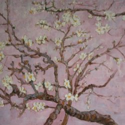 Van Gogh - Branches Of An Almond Tree In Blossom (Interpretation In Pink) Oil Painting On Canvas Repro 20X24""