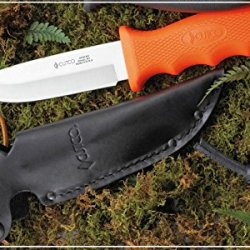 "Cutco Model 5718 Orange Straight Edge Drop Point Knife...........High Carbon 4 1/4"" Blade...........4 3/4"" Durable Kraton® Handle..........Leather Sheath And Lanyard Included."