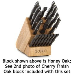"Cutco Model 2018 Homemaker+8 Set............Includes (8) #1759 Table Knives, (10) Kitchen Knives & Forks, #1748 Honey Oak Knife Block, #82 Sharpener, And #125 Medium Poly Prep Cutting Board.......... High Carbon Stainless Blades And Classic Dark Brown (""B"