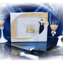 Wedding Guest Book, Toasting Glasses, Cake Knife And Pen Set W155F
