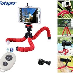 Celler Fotopro Flexible Octopus Tripod + Phone Holder +Bluetooth Remote Shutter + Gopro Mounting Adaptor For Smartphone & Digital Camera & Compact Video Camera Including Iphone Ipad Samsung Htc / Point & Shoot Cameras Dslr Cameras Home Dv Video Cameras Go