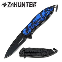 "Z-Hunter ""Malevolent Spirit"" Ao Rescue Knife- Blue Skulls - For Supernatural Adventures"