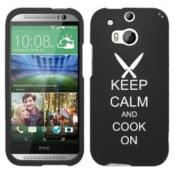 Htc One M8 Snap On 2 Piece Rubber Hard Case Cover Keep Calm And Cook On Chef Knives (Black)