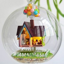 Singeek Mini Aegean Sea Hanging Wooden House Model, Diy Glass Ball Doll House Model,Miniature Dollhouse Toy Valentine'S Day Birthday Christmas Gift Gift