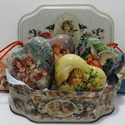 Vintage Victorian Collection Treasured Traditions Metal Tin Box & Set Of 6 Paper Mache Decoupage Angels Heart Ornaments