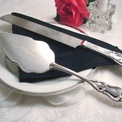 Cake Knife And Server Set, Silver Plated.