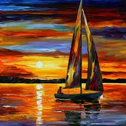 Boat Art Wall Decorative Canvas Knife Paintng On Canvas 30X36In/75X90Cm Unframed