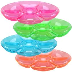 "Set Of 4 - 14"" Round Plastic 7 Compartment Tray, Fast Food Tray, Lunch Tray, Dinner Tray, Party Appetizer Platter, Assorted Colors"
