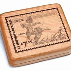 "5X6"" Box With Black And Burlwood Knife - Mallards Stamp"