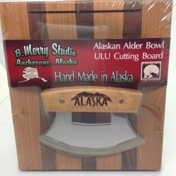 "Made In Alaska Ulu Birch / Walnut Stripe Chopping Bowl Set Ulu Knife "" Alaska"""