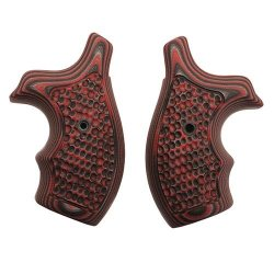 Hogue S&W J Frame Round Butt Grip (Bantam Piranha G-10 G-Mascus), Red Lava