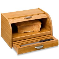 Honey-Can-Do Kch-01081 Bamboo Rolltop Bread Box With Pull-Out Drawer