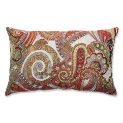 Pillow Perfect Crazy Rosewood Rectangular Throw Pillow, Red