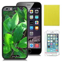 Iphone 6 4.7 Case Soloshow® Lucky Green Leaves Case With Slim Fit Case Advanced Shock Absorption Protection + Screen Protector For Apple Iphone 6 4.7 Inch (Black Pc & Lucky Green Leaves)