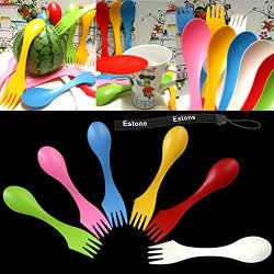 Estone® 6Pcs Travel Utensils Spoon Fork Knife Cutlery Camping Outdoors Spork Combo Set