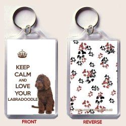 Keep Calm And Love Your Labradoodle Keyring With An Image Of A Brown Labradoodle. An Original Birthday Or Christmas Stocking Filler Gift From Our Keep Calm And Carry On Range.