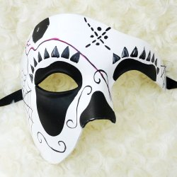Black And White Half Face Mexican Sugar Skull Hand-Painted Paper Mache Mask