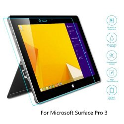Boriyuan Microsoft Surface Pro 3 Screen Protector, [Tempered Glass Protection] Ultra Slim Crystal Clear Premium Tempered Glass Screen Protector For Microsoft Surface Pro 3 - Brand New In Retail Package, Comes With A Micro Fiber Cleaning Cloth + An Alcohol