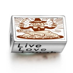 Loyallove Thanksgiving Turkey Man With Fork Knife Photo Live Love Laugh European Charm Bead