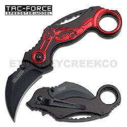 Tf-578Mr Spring Assist - Red Skull Chopper Vfvnkq - 7281Hj Karambit Tactical Knife Ajuiioptr 4567Fffg 567Ybghjk Specifications:Black Aluminum Njert Handle With Red Skull Chopper.Sharpened 440 Stainless Steel Blade.In-Line Open Lock.Includes Pocket / Vxanb