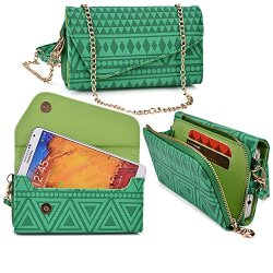 Womens Clutch Wristlet Case Doogee Dagger Dg550 |Includes Shoulder Strap - Aztec Mayan Tribal Pattern - Junebug Green And Absinthe Green