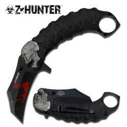 Zombie Tactical Black Assisted Opening Knife With Finger Ring Black W/ Pocket Clip (Limited Edition)