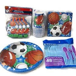 Sports Theme Birthday Party Supplies Pack - Plates, Napkins, Cups, Cutlery, Party Blowouts - Baseball, Football, Soccer, Basketball