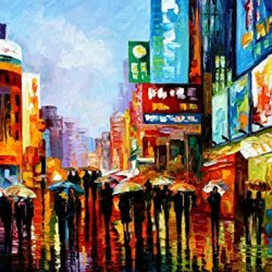 Hand-Painted Artwork Living Room Bedroom Corridor Decor Art Best Palette Knife Oil Paintings On Canvas (Lights Of Down Town) - 40 X 30 Inch , Unframed