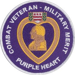 "Us Military Purple Heart Embroidered Patch 4 1/2"" Diameter - Highly Detailed Embroidered Patch - White Merrowed Edge - Wax Backing Awarded By United States Armed Forces"
