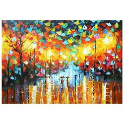 Iarts Oil Painting Landscape Rain Street Scenery Canvas Painting Knife Painting