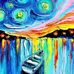 Modern Art Canva Lonely Boat Painting Knife Paintng Wall Art Canvas Unframed Painting 32X40In/80X100Cm