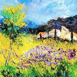 100% Oil Painting Unframed Flower House Home Decoration Modern Knife Paintng On Canvas 30X35In/75X87.5Cm